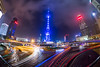 Round and Round (Bun Lee) Tags: china city longexposure urban architecture clouds skyscraper buildings landscape automobile asia nightscape shanghai traffic cloudy lighttrails pudong nightscapes nighttraffic nightskies bunlee bunleephotography eastperaltower