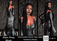 CDAliraDressMeshLeatherBlack (*CD* Chanla Design) Tags: leather clothing dress mesh cd gothic kleidung vampir kleid meshbody