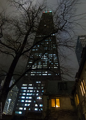 warmth in a cold city (D-j-L) Tags: sky chicago tree church night skyscraper canon outside lights evening us illinois unitedstates warmth hancocktower johnhancockcenter s100