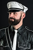 Mr. Leather Europe 2015 (Thorsten) (WF portraits) Tags: portrait hairy white man black male shirt studio beard belt tie cap aut gayleather mrleather mrleathereurope