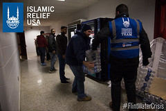 Islamic Relief USA distribute water bottles at a local youth center.