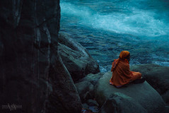 Place for thought (Vivek R. Singh: Visual Artist) Tags: life blue india water river rocks day photographer sony prayer documentary peaceful sage serene meditation northeast hermit baba filmmaker sadhu celestial saffron 24105 kund churning arunachalpradesh parshuram fotodiox a7s parsuram vivekrajsingh vivekrsingh vivekrsinghvisualartist ilce7s
