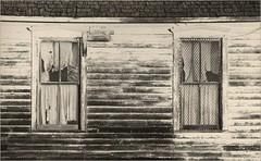 455 - School Windows with NIce Curtains - Caffenol Print (Brad Renken) Tags: school windows blackandwhite film nebraska pentax k1000 ne neb curtains hp5 pearl tamron ilford perle nebr caffenol adorama