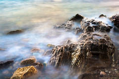 Cloudy Sea (Tristan K.) Tags: longexposure sea cloud mist water clouds movement rocks exposure waves peace slow cloudy softness calm vapor ndfilter longexpo soundofwaves