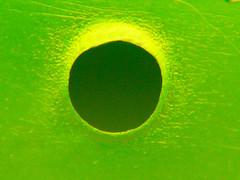 Minimalism (Alan FEO2) Tags: abstract green vibrant circles barrel indoor holes fluorescent flecks hmm minimalsim kerplunk macromondays 2oef