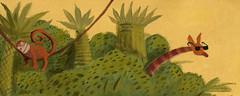 Year of the Monkey-- wake up! (maralina!) Tags: detail green art yellow illustration painting monkey chinesenewyear palm foliage jungle palmtree giraffe acrylics palmier yearofthemonkey illustrazione crocodileshoes kidlitart illustrationjeunesse