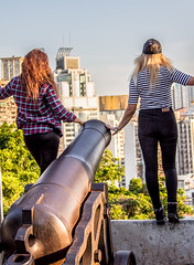 On the Edge (dltaylorjr) Tags: park canon pose photography hongkong fort monte macau overlook overlooking fortress goldenhour