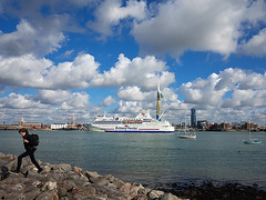 Portsmouth Harbour - A bright, crisp day (fstop186) Tags: cruise blue sea sky woman seascape man car ferry landscape jumping rocks ship harbour extreme young wideangle panasonic portsmouth spinnakertower warrior passenger lipstick leaping decisivemoment hms emiratestower brittanyferries lumixgvario714mmf4 olympusem1