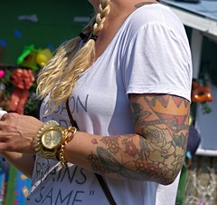 10:23 am with bling & artwork (InnAtElmwood) Tags: tattoo arm watch blond bling tat