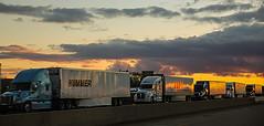 Truck Jam (wyojones) Tags: winter sunset snow clouds line wait trucks wyoming np i80 evanston winterstorm roadclosure wyojones