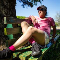 Sitting Pretty (DarlingJack) Tags: pink selfportrait sunglasses bench sitting legs feminine crossdressing sissy kawaii androgyny hdr genderqueer genderbending daisydukes shortshorts androgynous prettyboy girlyboy subtlehdr femboy nonconforming genderfluid genderbent