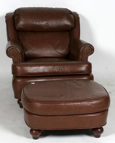 Leathercraft Leather Club Chair w/ Ottoman ($209.00)