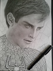 Spiderman - Tobias Vincent Maguire (Giovana Draw/ ) Tags: portrait white black art illustration pencil vincent spiderman draw tobias graphite desenho grafite maguire realista