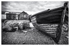 Beached (don't count the pixels) Tags: blackandwhite beach monochrome portland boats coast boat seaside huts dorset portlandbill silverefexpro
