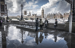 Reflections (Ludo_Jacobs) Tags: city reflection london rain thames river shower housesofparliament bigben embankment regen