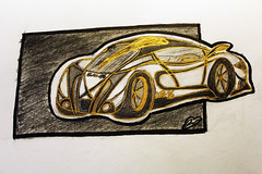 XB-16 (UndercoverWookiee) Tags: color car gold automobile artist drawing signature vehicle sharpie trim prismacolor 4h supercar 2b 4b ticonderoga 6b 2h shading 2016 10b 8b 12b hypercar 2hb blakbird