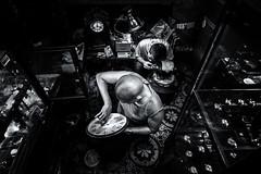 The Watchmaker (Axel Halbgebauer) Tags: street travel portrait blackandwhite bw man men clock shop night triangles composition zeiss work dark lowlight asia candid sony watch working vietnam workshop worker fe hanoi watchmaker
