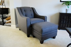 203 Chair & Ottoman by Smith Brothers (Brian's Furniture) Tags: 3 grey chair brothers smith made fabric american ottoman tufted berne cushions 203 solid podon buttonless 21116 355814