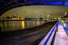 Under Blackfriars Bridge (Neal_T) Tags: city uk london skyline night fuji norfolk wideangle nighttime norwich fujifilm 12mm londoncity blackfriarsbridge samyang riverthemes xt10 samyang12mm
