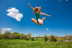 Blue sky and green grass, Happy Love to Leap Thursday! (Flickr_Rick) Tags: woman girl outside spring jump jumping legs bluesky blonde shorts breanne jumpology lovetoleapthursday