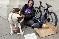 who'll care (vhines200) Tags: sanfrancisco dog bicycle sign homeless panhandler 2016