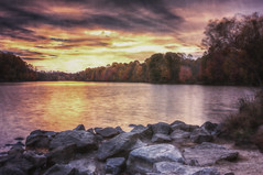 the hidden fire (alexandratsuruta) Tags: autumn sunset fall texture photoshop watercolor effects seasons maryland columbia foliage hdr hss centenniallake manifulation sliderssunday