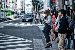 shinjuku crosswalk (sinkdd) Tags: street japan tokyo nikon shinjuku crossing traffic boots 85mm zebra  nikkor crosswalk trafficsign  d800 pedestriancrossing streetsnap nikond800 f18g afsnikkor85mmf18g