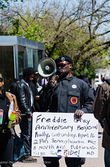 Black Panther (cool revolution) Tags: sign text protest baltimore beret blackpanther bullhorn blackpantherparty freddiegray