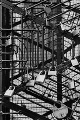 Love Lockdown (chschulz) Tags: zeiss 35mm erfurt locks hp5 tor ikon ilford tr gitter padlocks stahl schlsser biogon zm lovelocks verschlossen schlos liebesschhlsser
