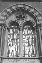 Station window (Pat's_photos) Tags: london window glass station stpancras week42 7daysofshooting blackandwhitewednesday