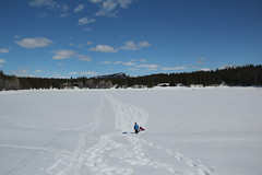 Hiking on the frozen lake (Aggiewelshes) Tags: travel winter snow april snowshoeing wyoming jacksonhole colterbay grandtetonnationalpark 2016 gtnp