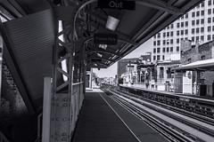 Damen blue line station pic5 4-25-2016 (Artemortifica) Tags: street bridge sky chicago cars clouds buildings construction blueline crane bikes graffity milwaukee western trucks damen