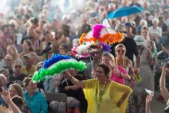 crowd-second line (Scott Saltzman / Barefoot Photography) Tags: dancing fairgrounds lutherkenttrickbag neworleansjazzandheritagefestival2016 crowd day5 music umbrellas
