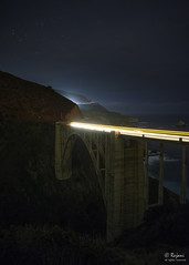 Bixby Creek Bridge in the night (Rajani Chand) Tags: longexposure nikon nightshot bigsur d750 nikkor bixbycreek 2470mm traffictrail