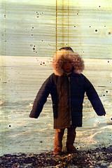 30-140 (ndpa / s. lundeen, archivist) Tags: ocean winter sea people snow color fall film ice 30 alaska 35mm coast town frozen village child native coat nick spots coastal 1970s damaged 1972 distressed parka unidentified alaskan dewolf nativealaskan discolored heatdamage damagednegative furlined youngperson nickdewolf photographbynickdewolf coastalvillage reel30 furlinedparka