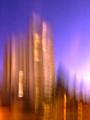 skyline (Helmut Sdema) Tags: blue red blur rot skyline town stadt blau farbe unscharf icm hochhaus towerbuilding intentionalcameramovement bewegungsunschaerfe