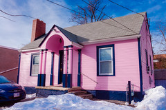Todo en rosa (Thad Zajdowicz) Tags: door leica pink blue roof winter light shadow chimney sky white snow color colour building window car rose architecture clouds stairs automobile outdoor availablelight small rosa maryland vehicle bethesda lightroom montgomerycounty  pembe rowy allinpink zajdowicz