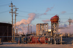 Oil Refinery (metroblossom) Tags: sunset indiana storage oil gasoline bp tanks whiting lateafternoon oilrefinery img1218 northwesternindiana whitingrefinery