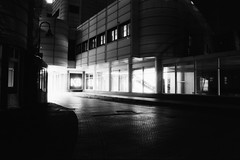 Bezuidenhout, Den Haag, ZH (Jickatrap) Tags: blackandwhite film architecture night analog 35mm glow pentax denhaag  urbanlandscape     pentaxmz50  bwfilm filmphotography ilforddelta100  ilforddelta    wimquist newtopographics    photographersontumblr