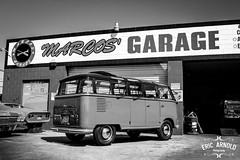 Black and White Monday #2 (Eric Arnold Photography) Tags: california ca blackandwhite bw white black bus monochrome vw volkswagen samba deluxe garage safari alhambra 1956 split marcos sunroof splitty blackandwhitemonday