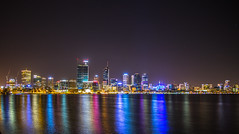 City of Perth over the Swan (hoomanz) Tags: city night reflections photography long exposure colours elizabeth quay perth