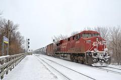 CP 550's DPU (Michael Berry Railfan) Tags: winter snow quebec montreal lasalle canadianpacific cp ge generalelectric dpu gevo es44ac oiltrain cp8854 fueltrain crudeoiltrain adirondacksub cp550