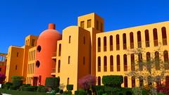 Michael Graves: Steigenberger Resort, El Gouna, Egypt (Winfried Scheuer) Tags: blue venice art yellow architecture hotel postmodern kitsch gehry disney pop vision gelb hollywood utopian bauhaus filmset holywood hadid venturi futurist