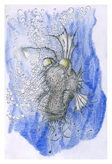 Angler fish (Karwik) Tags: fish pencil pencils drawing crayons ze ryba angler owek kredki olowek gbinowa wiatekiem