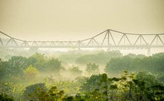 misty morning in Long Bien (:: Focus Studio ::) Tags: ocean china old city morning travel bridge sunset vacation people sun sunlight lake west green tower water beautiful field sunrise work river relax landscape thailand boat early pond ancient asia vietnamese afternoon aerial vietnam hoian viet transportation fisher tropical motor ha hanoi hue nam noi truong tien indochina earning hotay