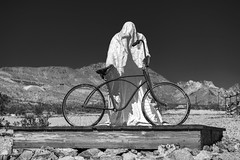 Ghost Rider (Hiking Mountains) Tags: sculpture mountains bike bicycle desert nevada unitedstatesofamerica ghost ghosttown rhyolite nyecounty