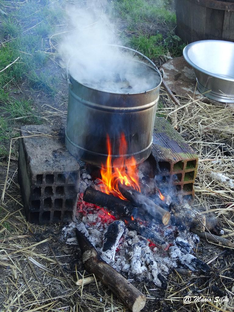 Aguas Frias (Chaves) - ...aquecendo água em dia de matança ...