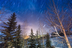 Starry Snowmass Night (Jake in Japan) Tags: longexposure sky snow mountains night clouds stars colorado sony    ultrawide   pinetrees snowmass startrails lighttrail   apsc a6000   sel1018 e1018mmf4oss 6000 ilce6000 jakejung