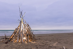 Tourched Tipi (Squid Rings (John Burland)) Tags: wood morning light newzealand summer beach lamp sunrise sticks sand torch headlamp kiwi tipi drift