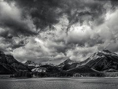 Upper Kananaskis Lake (martincarlisle) Tags: trees sky blackandwhite canada mountains monochrome clouds rockies lakes alberta rockymountains nwn canadianrockies upperkananaskislake peterlougheedprovincialpark photoninja niksoftware olympuse510 silverefexii